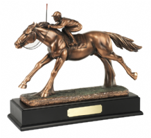 BRONZE PLATED GALLOPING HORSE AND JOCKEY